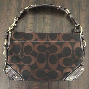 Coach signature shoulder bag brown black canvas